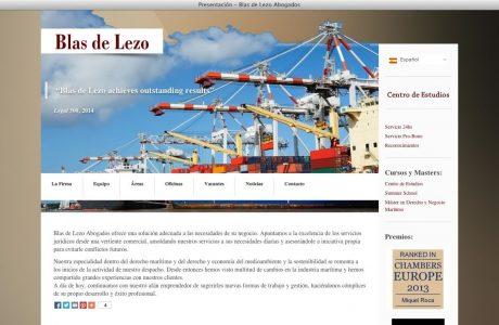 Web corporativa de la firma de abogados Blas de Lezo, despacho especializado en derecho marítimo. Sitio en WordPress en alemán, ruso, inglés y castellano.