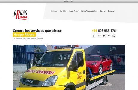 Web corporativa de la empresa Grupo Rivera Galicia, especializada en asistencia en carretera 24 horas, servicio de recogida de escombros y excavaciones. Diseño responsive adaptable a móviles realizado con WordPress.