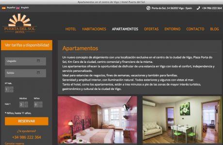 Web de reservas de un hotel situado en pleno centro de Vigo, a la entrada del casco histórico. Implementación del motor de reservas de Idiso sobre WordPress.