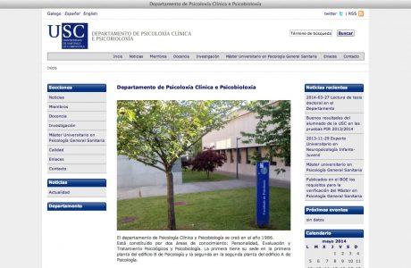 Web del Departamento de Psicología Clínica y Psicobiología de la Universidad de Santiago de Compostela. Sitio web realizado en WordPress, según diseño estimulado por la USC.