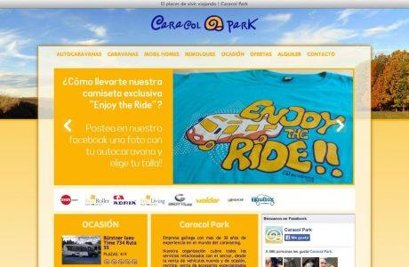 Web corporativa y catálogo online de Caracol Park. Desarrollo a medida realizada en PHP y HTML 5.