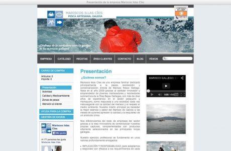 Tienda online de mariscos Islas Cíes. Sitio web desarrollado a media en ASP.