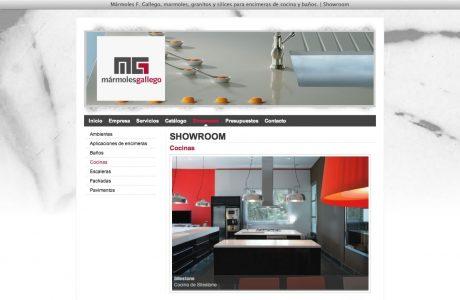 Web corporativa y catálogo online de Mármoles Gallego. Web realizada en ASP.