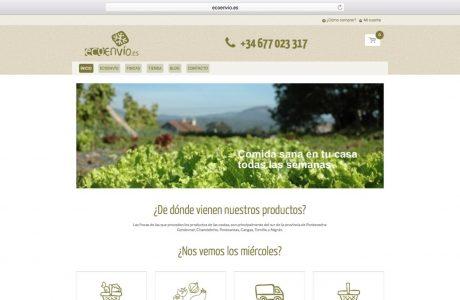 Tienda online de ecoenvio. Ecoenvio.es es un pequeño comercio por internet de cestas de productos ecológicos y lo más locales posible. Sitio web realizado con WordPress.