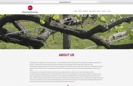 Web corporativa de iberiandrinks, importadores de vinos españoles y portugueses en el reino Unido. Sitio web realizado con WordPress.
