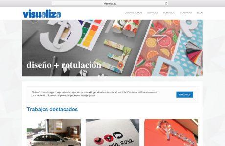Web corporativa y portfolio de trabajos de Visualiza, una empresa especializada en el ámbito del diseño y la rotulación. Sitio web realizado con WordPress.