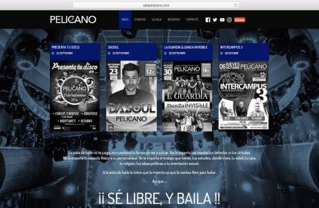 Web corporativa con agenda de eventos de la Sala Pelícano en A Coruña. Sitio web realizado con WordPress.