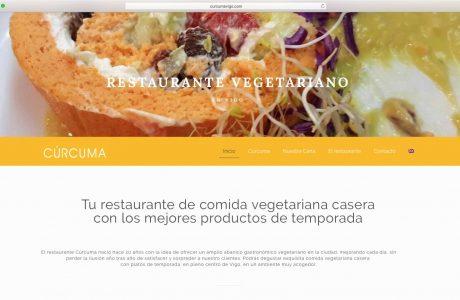 Web corporativa de Restaurante Cúrcuma. Restaurante de comida vegetariana casera con los mejores productos de temporada. Sitio web realizado con WordPress.