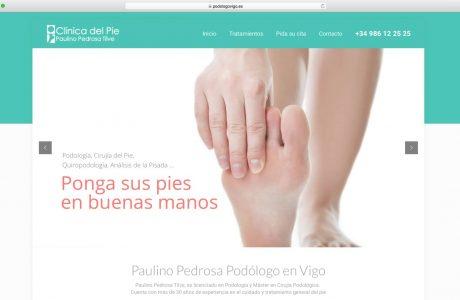 Web corporativa de Podología en Vigo. Clínica de Podología Paulino Pedrosa. Sitio web realizado con WordPress.