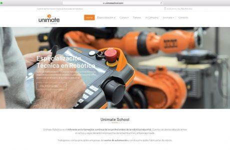 Unimate Robótica es el referente en la formación continua de los profesionales de la robótica industrial. Sitio web realizado con WordPress.